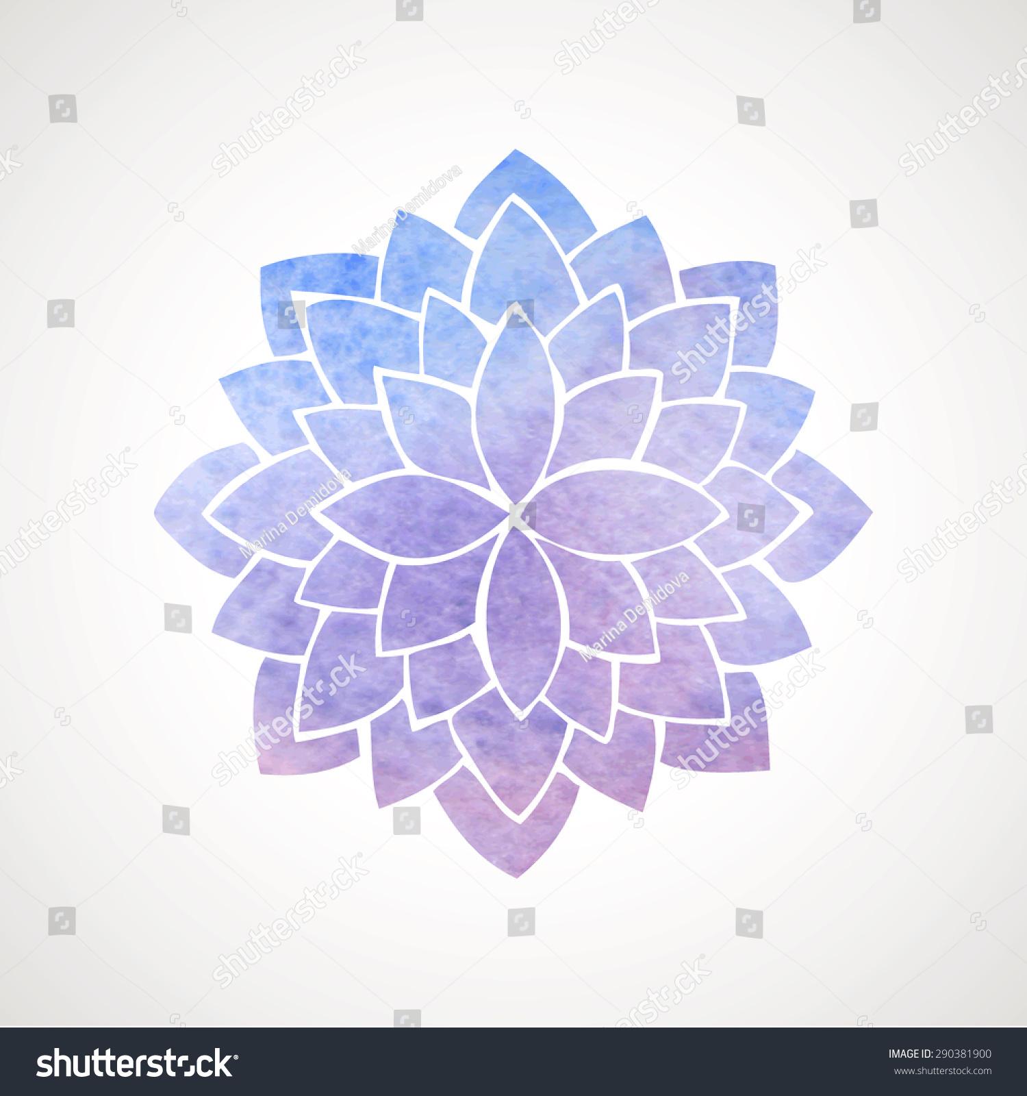 Watercolor Lotus Flower Blue Violet Colors Stock Vector Royalty