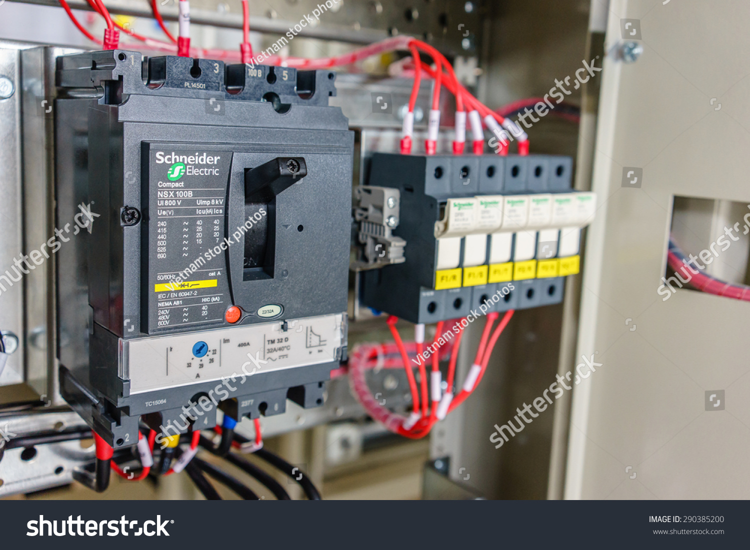 21 June 2015 Hanoi Vietnam Branch Stock Photo Edit Now 290385200 Wiring A Home Circuit Breaker In Schneider Electric Breakers Electrical Switchboard