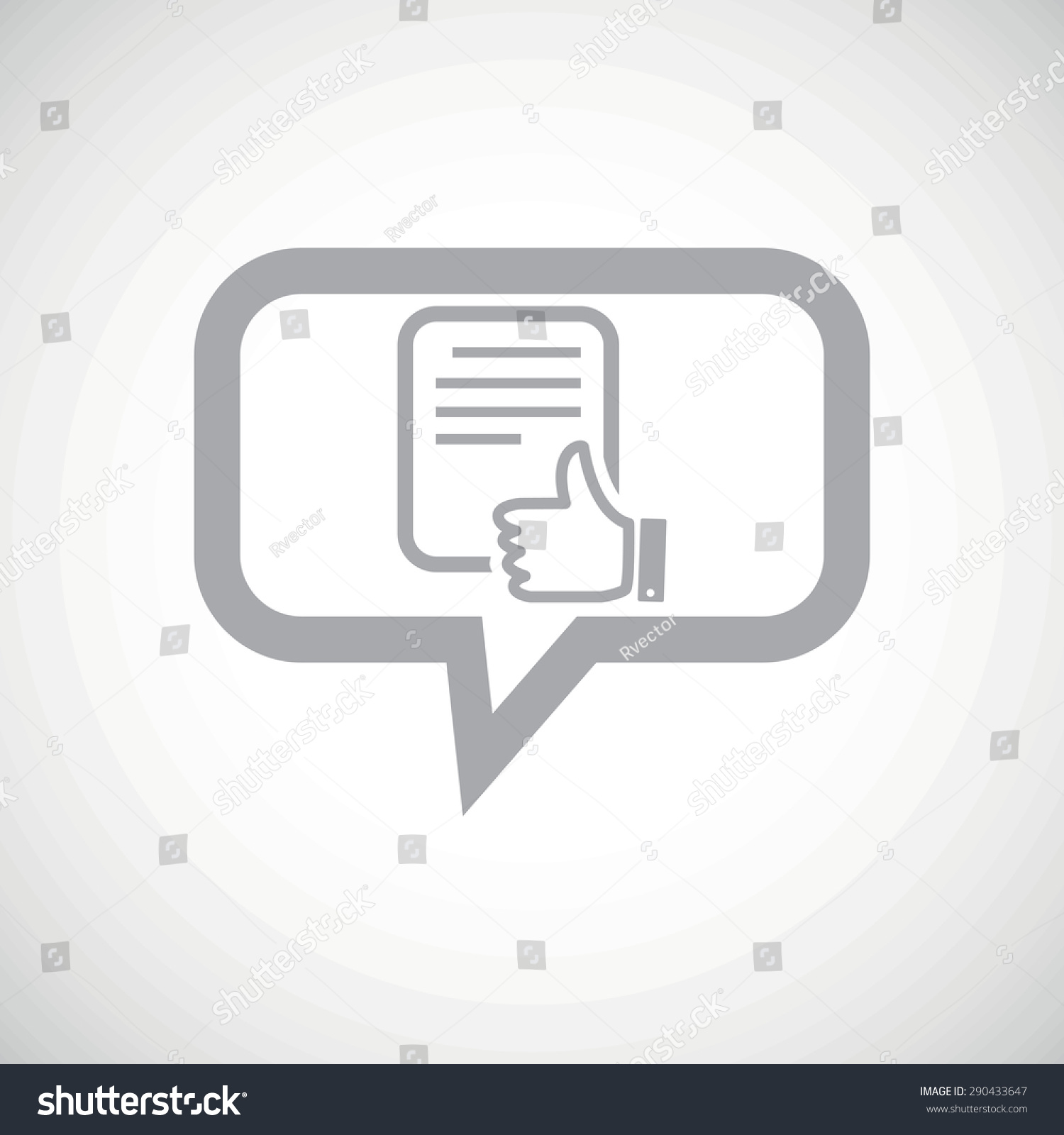 Grey image document like symbol chat stock vector 290433647 grey image of document with like symbol in chat bubble on white gradient background buycottarizona Choice Image