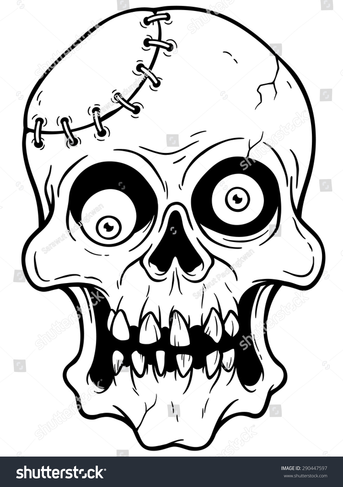 Zombie Face Line Drawing : Vector illustration of cartoon zombie face