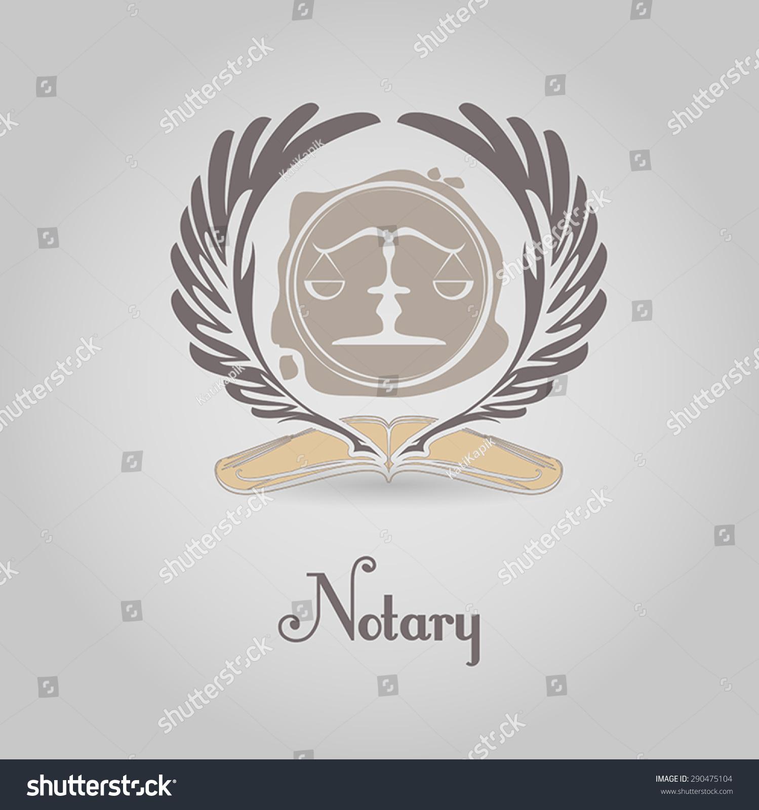 Notary Symbol Vector Logo Design Template Vector 290475104 – Notary Template