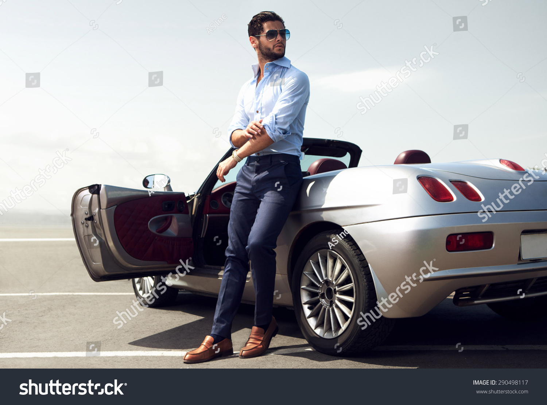 Handsome Man Near Car Luxury Life Stock Photo 290498117