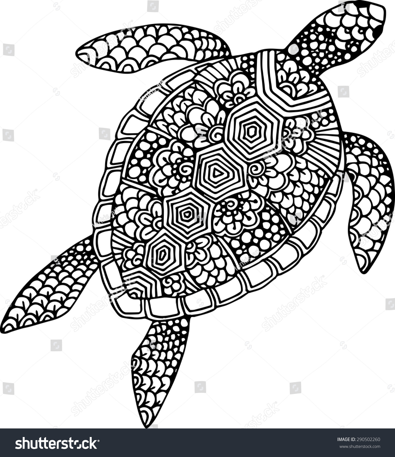 Abstract Turtle Coloring Pages : Stock vector hand drawn and traced doodle turtle