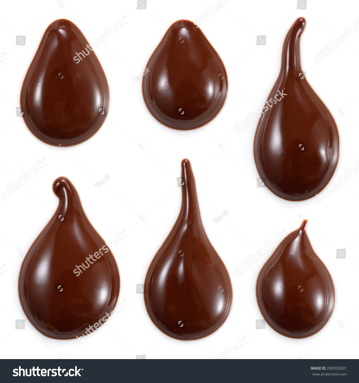 Chocolate Drops Isolated On White Background Stock Photo 290533001 ...