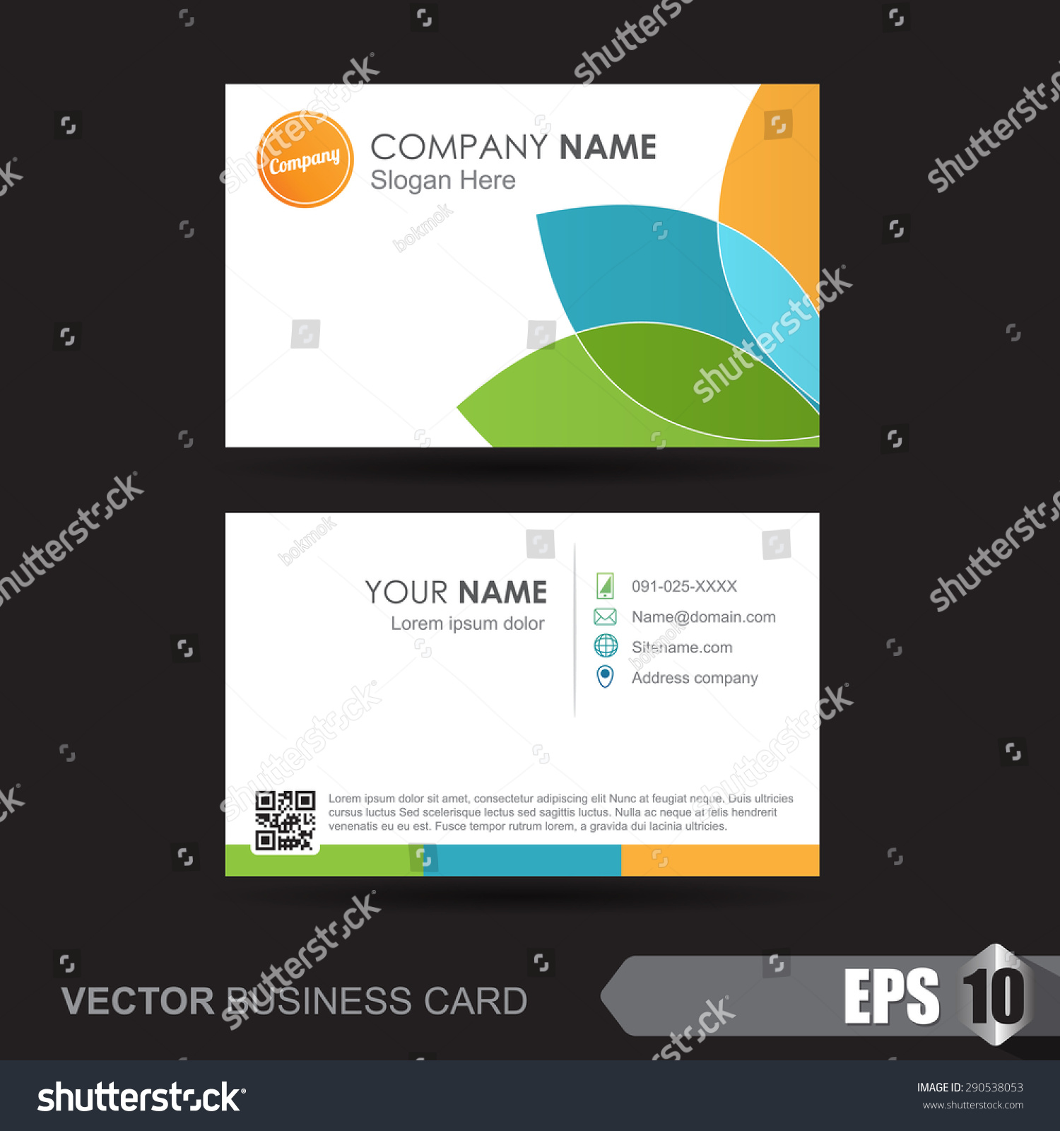 business card template name card template stock vector