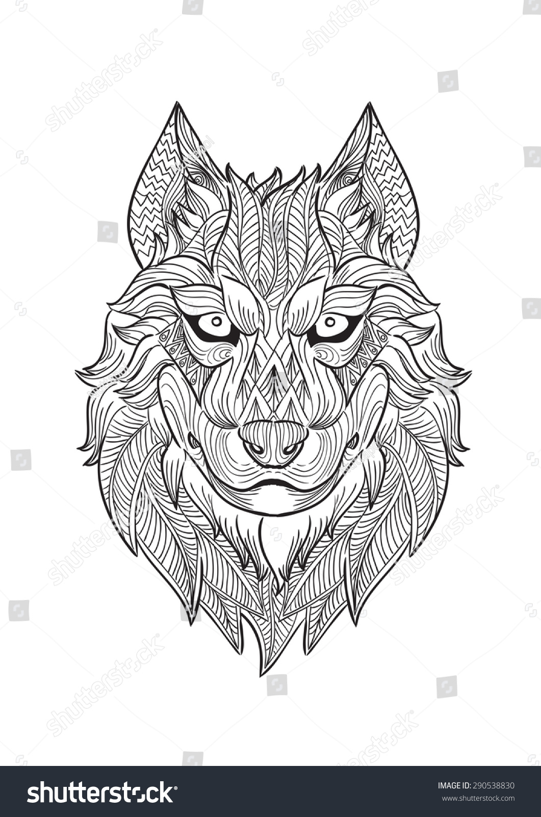 Hand draw wolf head zentangle style stock vector 290538830 hand draw of wolf head in zentangle style ccuart Choice Image