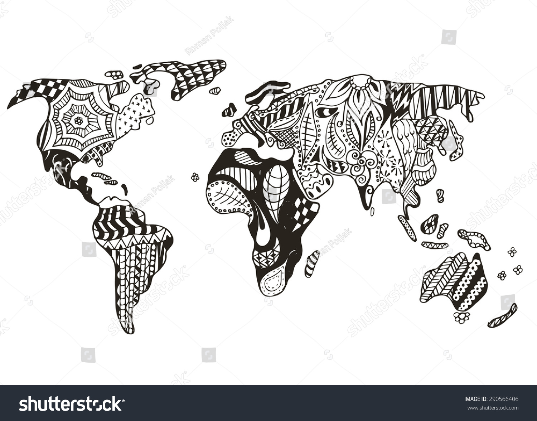 World map zentangle stylized vector illustration stock photo photo world map zentangle stylized vector illustration freehand pencil gumiabroncs Images