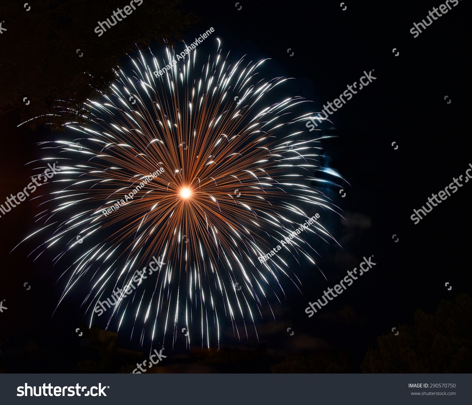 Denver New Years Fireworks6 By Niel4: Fireworks Blue Orange Red Fireworks Isolated Stock Photo