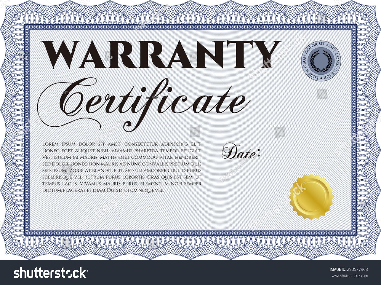 Guarantee Certificate Template | Sample Warranty Certificate Template Sample Text Stock Vector