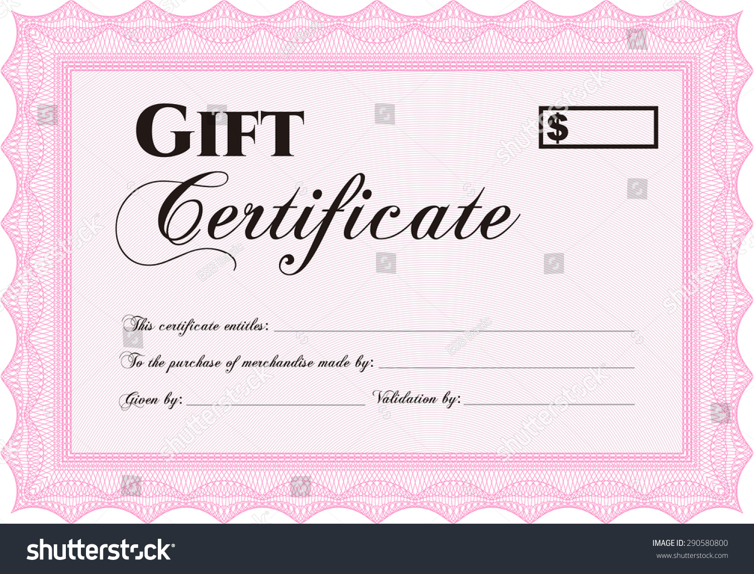 vector gift certificate border frame easy print stock vector