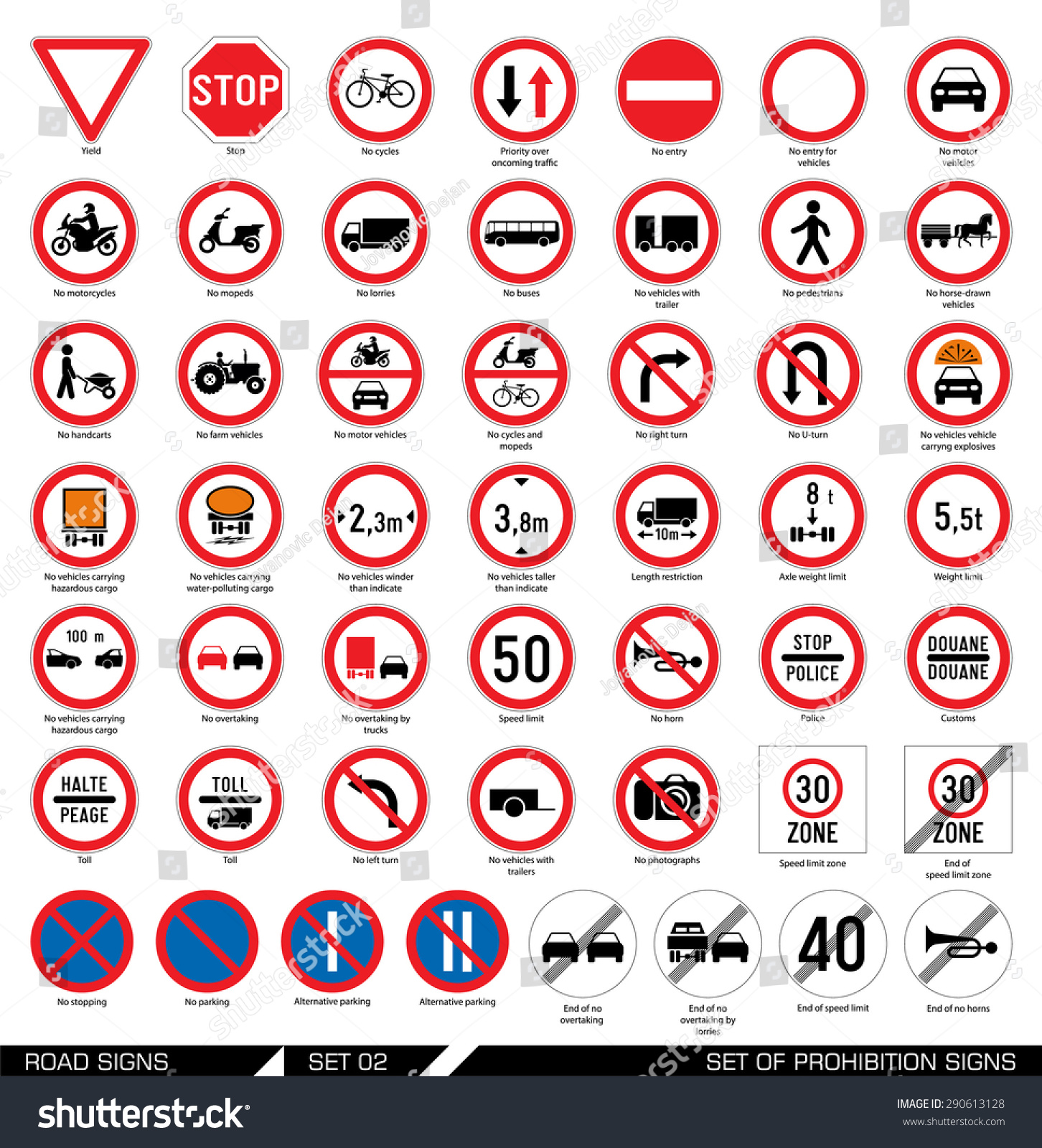 Collection Of Mandatory And Prohibition Traffic