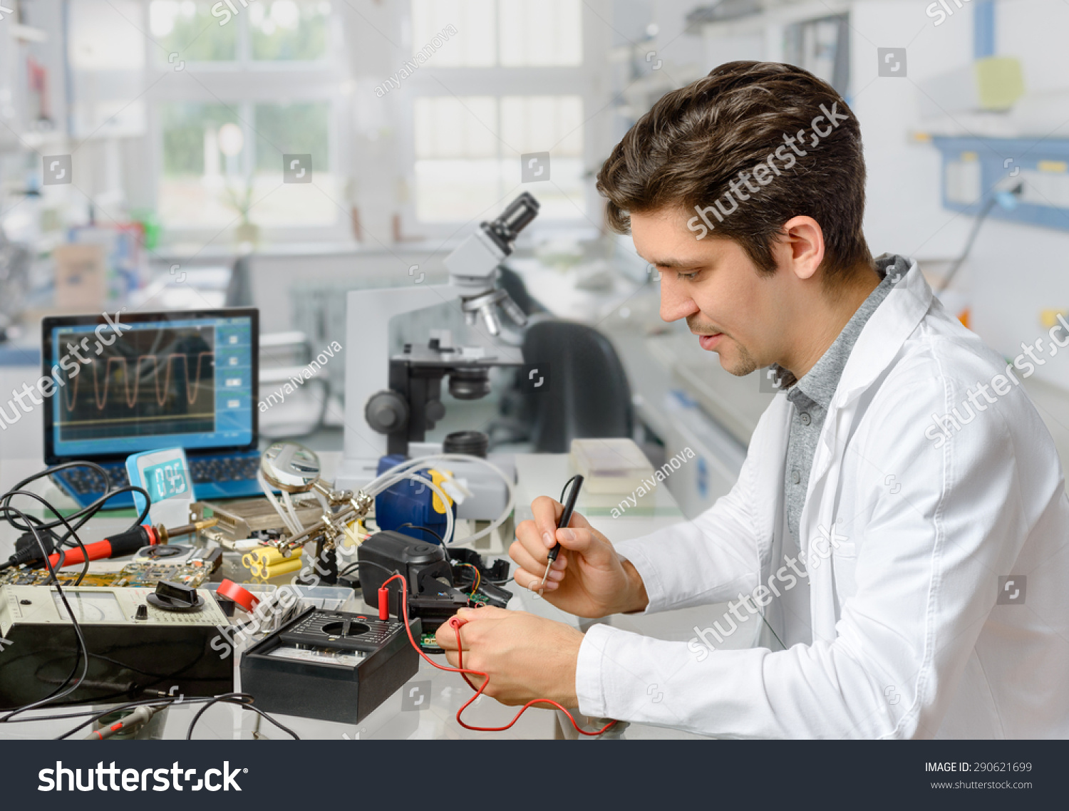 Young Energetic Male Tech Engineer Repairs Stock Photo 290621699 ...