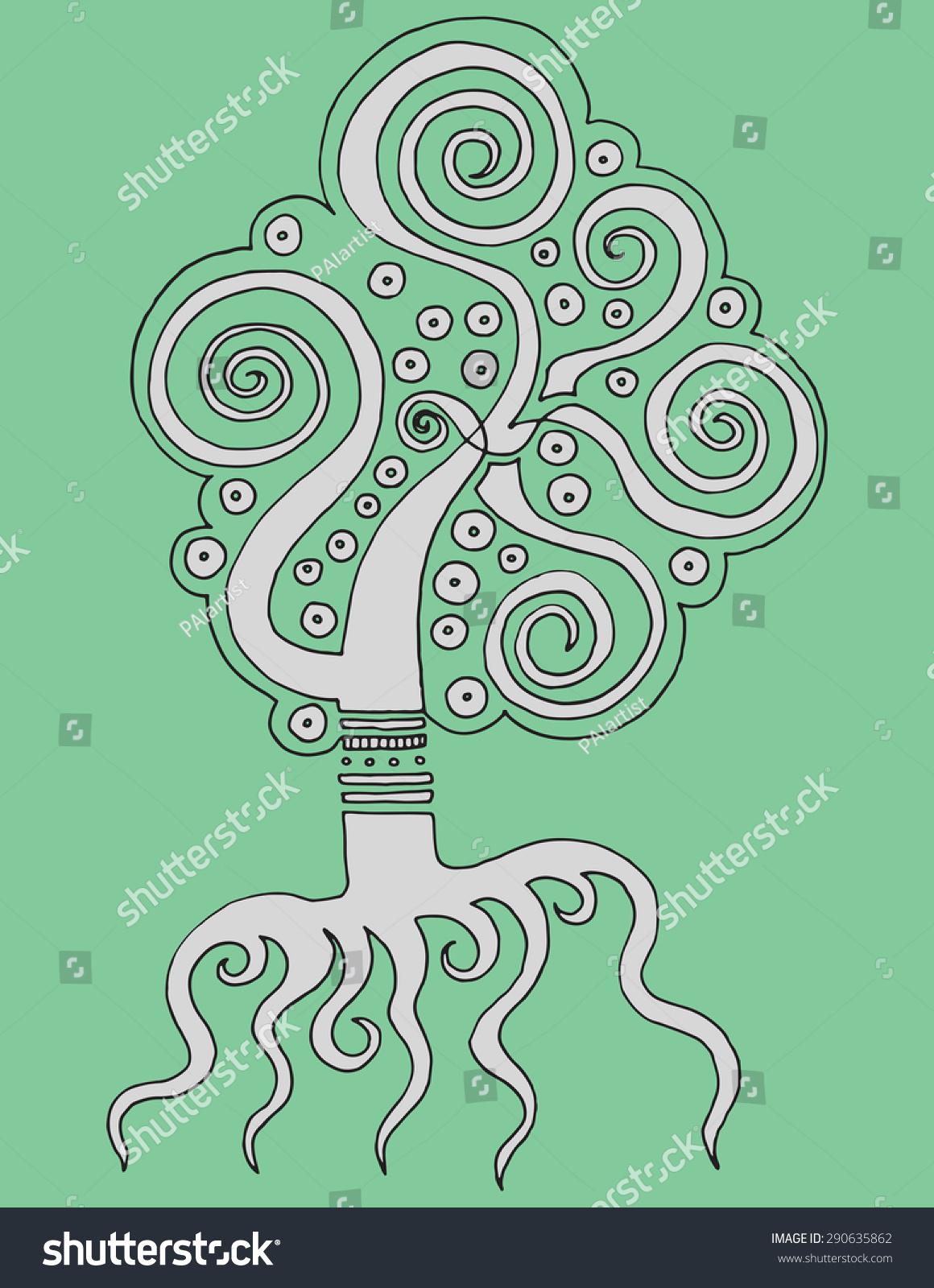 Simple Illustration Background Decorative Spiral Tree Stock ...