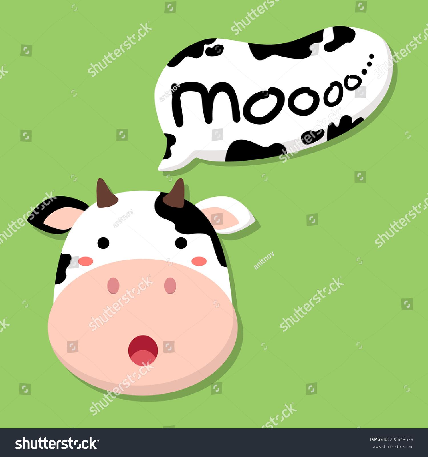 cute cow talking moo editable vector stock vector