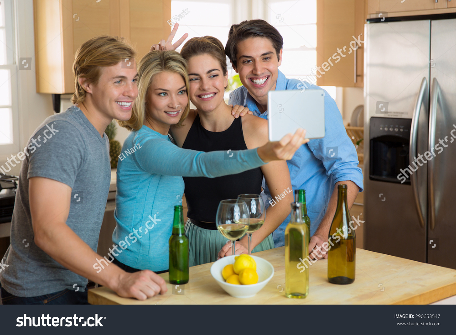 Best Friends Group Together Selfie Kitchen Stock Photo (Royalty Free ...