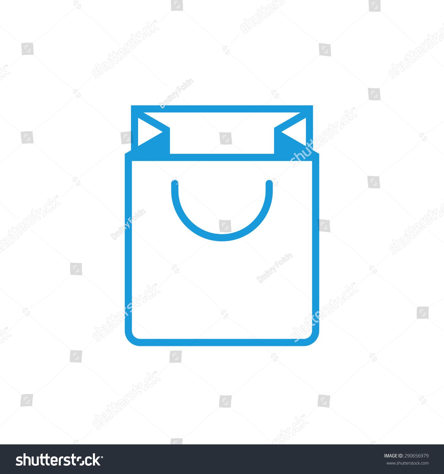 Paper bag vector - Shopping Bag Outline Icon Modern Minimal Flat Design Style Paper Bag Vector Illustration
