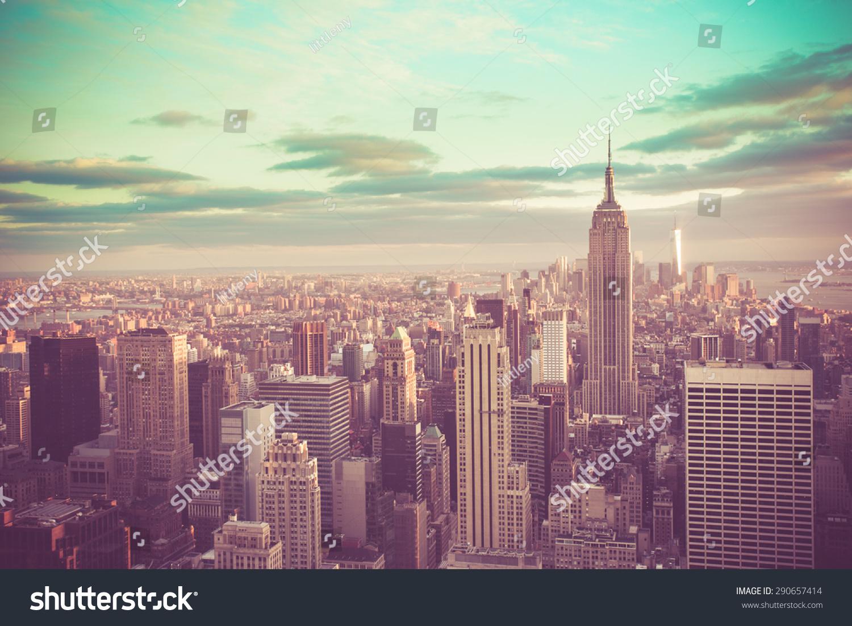 stock photo new york city manhattan with vintage tone filter 290657414 - asdasd
