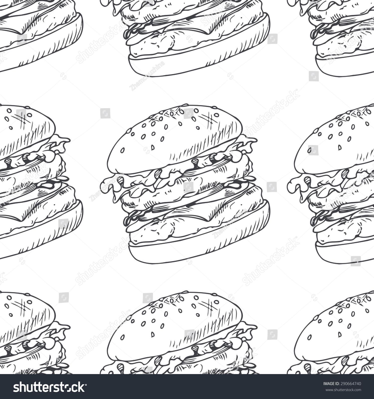 Seamless Pattern Sketched Burger Cheeseburger Hamburger Stock Vector