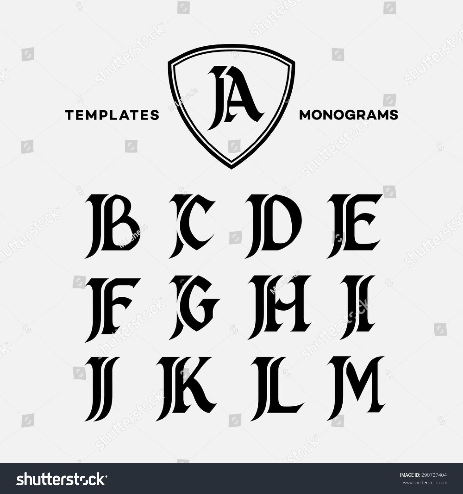 Monogram design template combinations capital letters stock vector monogram design template with combinations of capital letters ja jb jc jd je jf jg jh spiritdancerdesigns Choice Image