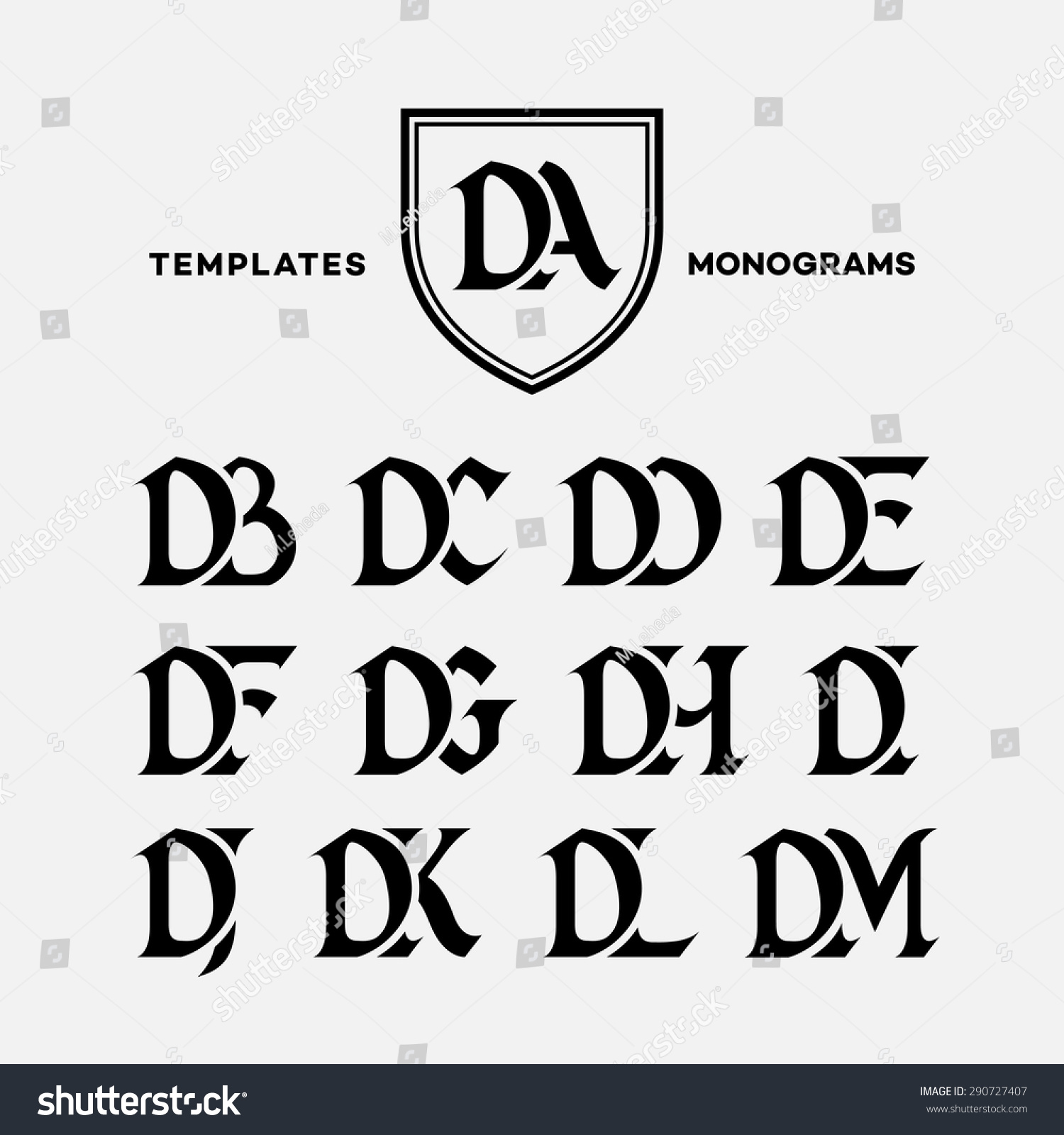monogram design template with combinations of capital letters da db dc dd de df dg dh