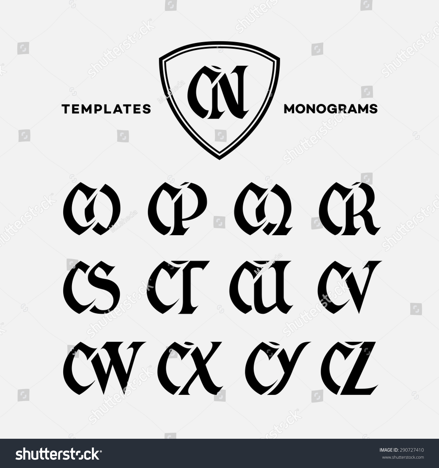Tj initial luxury ornament monogram logo stock vector - Monogram Design Template With Combinations Of Capital Letters Cn Co Cp Cq Cr Cs Ct Cu