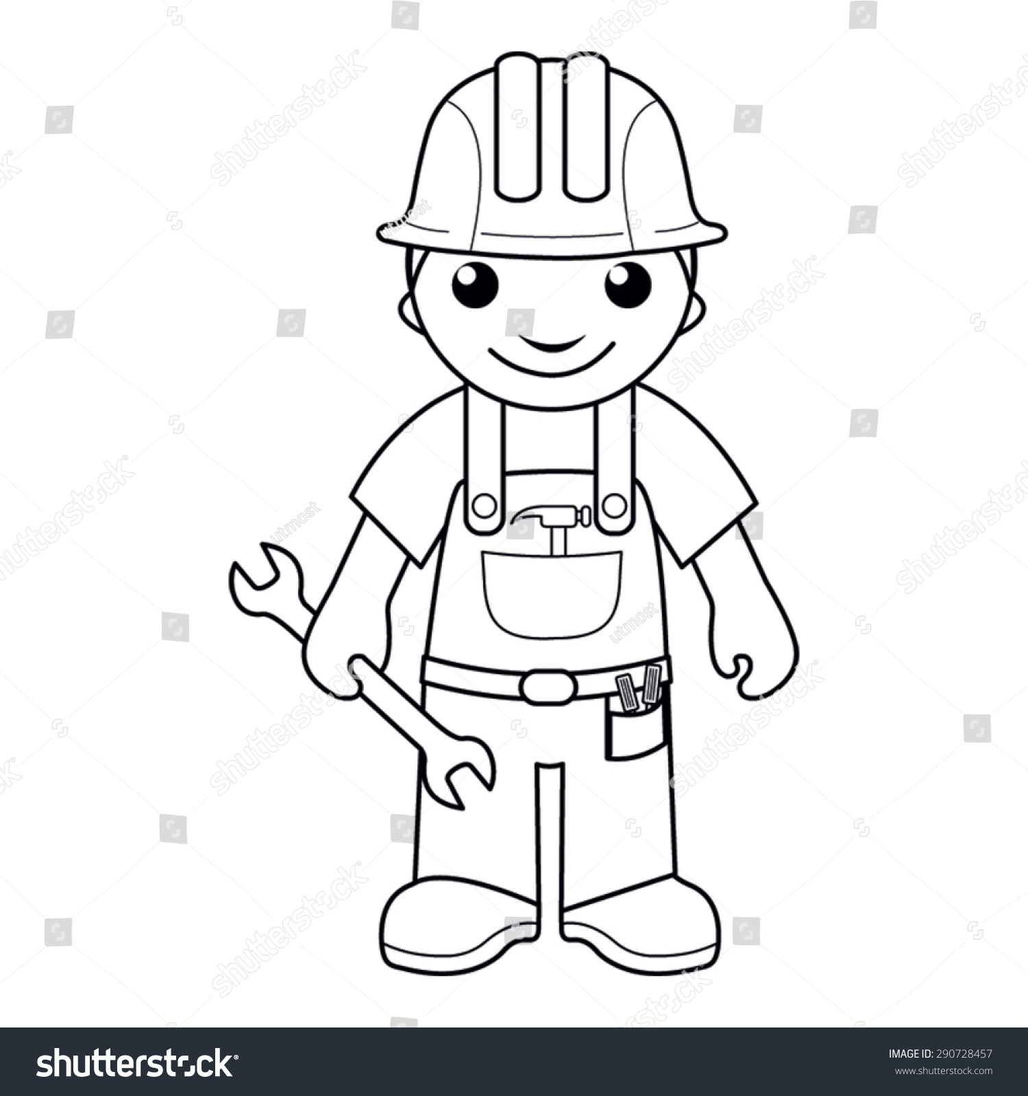 coloring page vector illustration of a black and white outline image of handyman with a