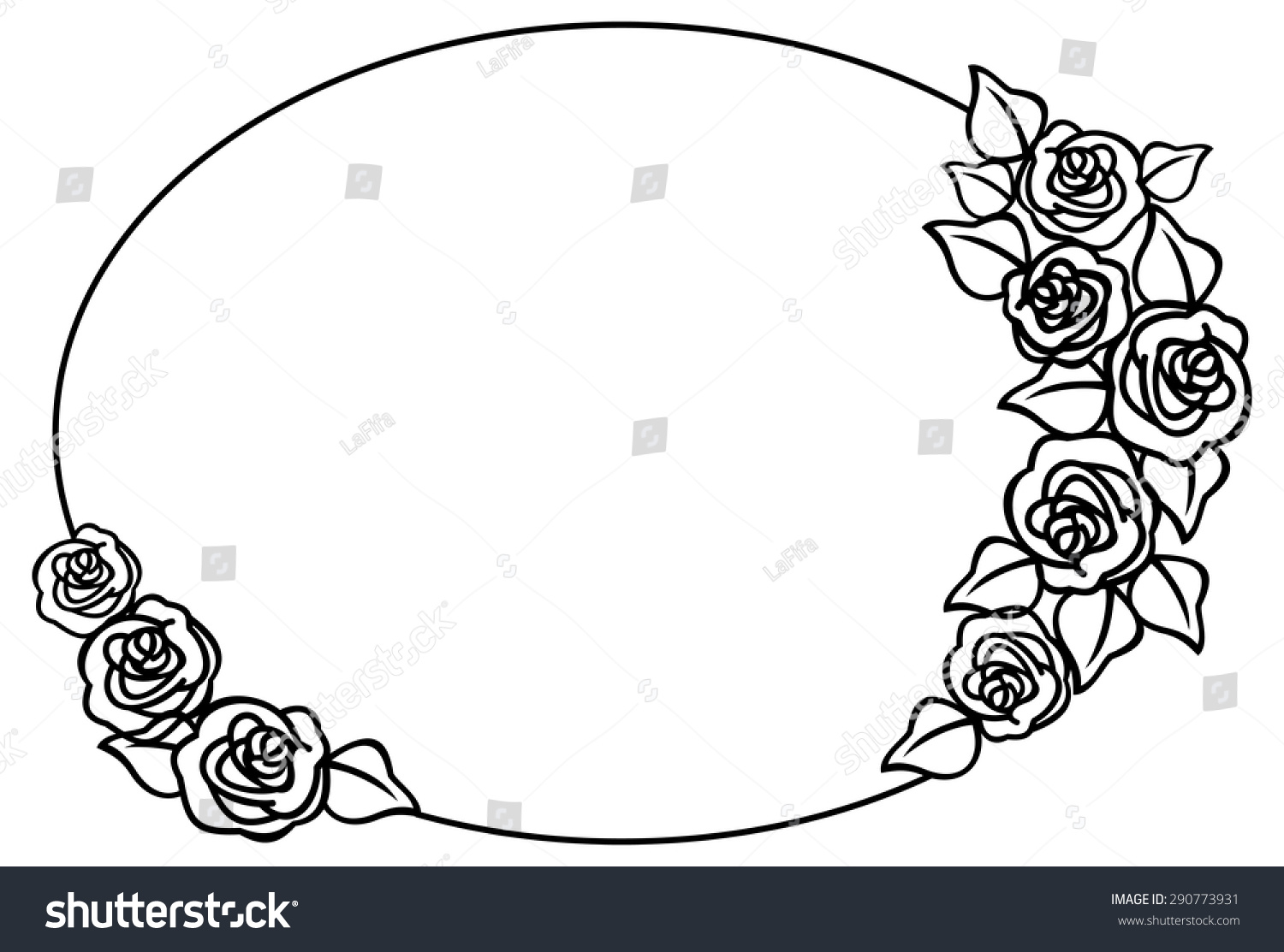 Glasses Frame Outline : Oval Frame With Outline Roses Stock Vector Illustration ...