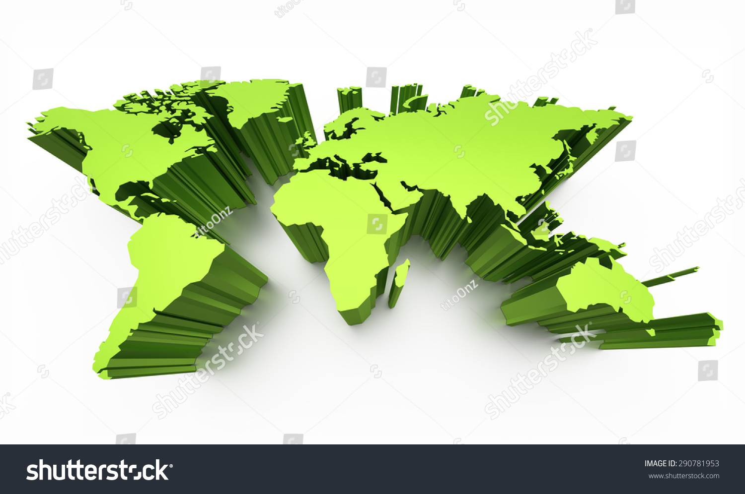 Blank World Map Green Colored Raised Stock Illustration - Blank world map green