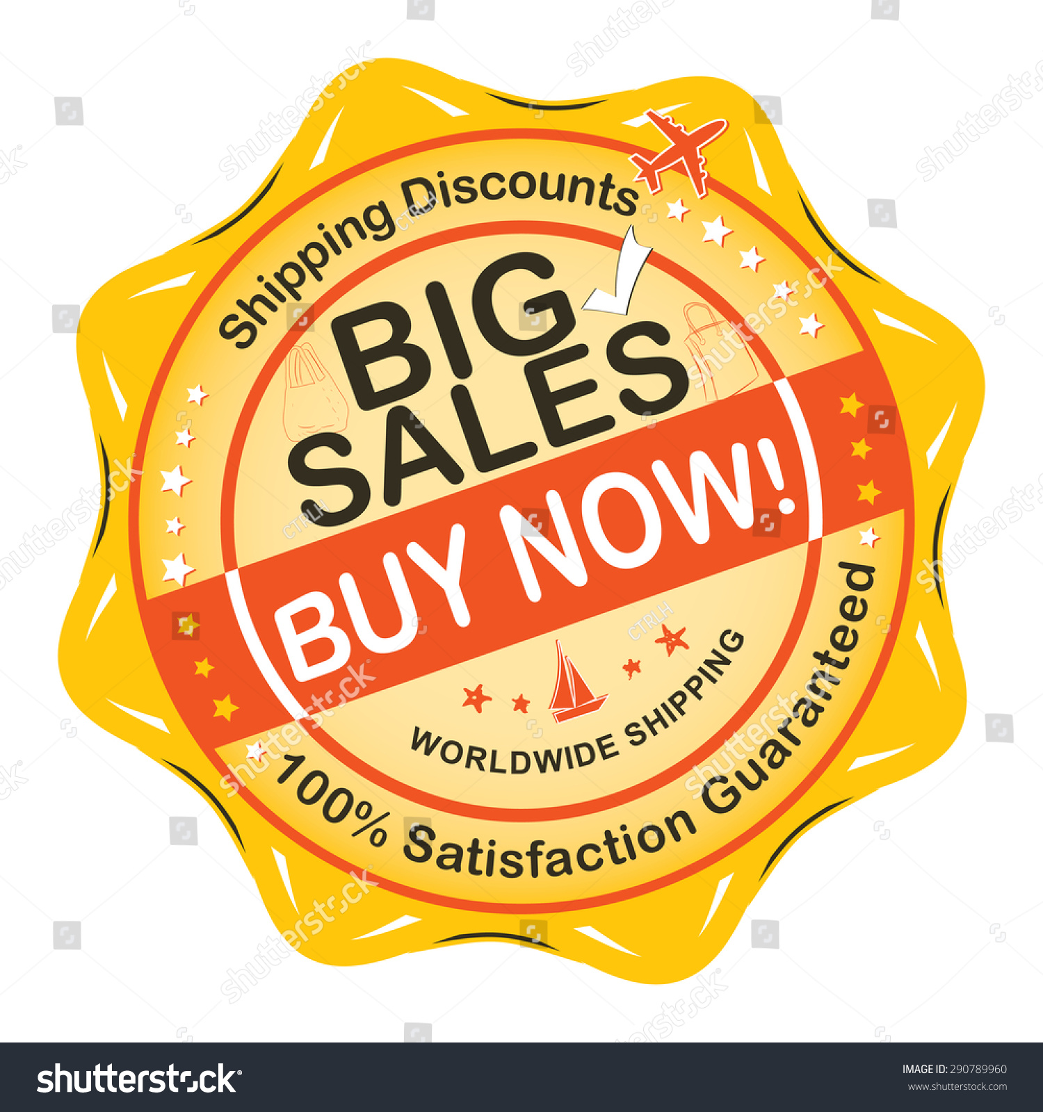 Big sales buy now label sticker for print orange big sales advertising sticker