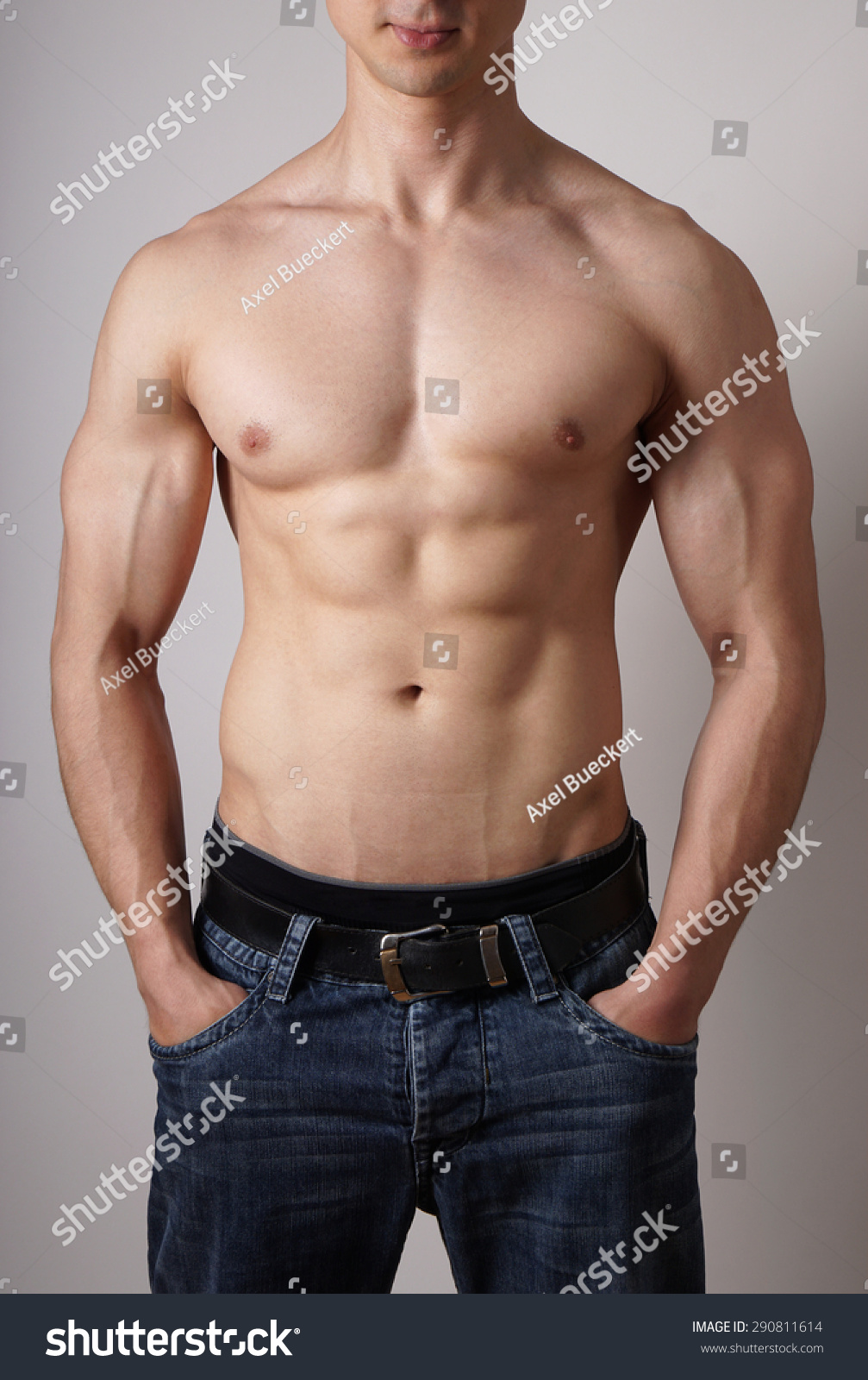 Toned Male Torso Muscular Arms Sixpack Stock Photo Edit Now