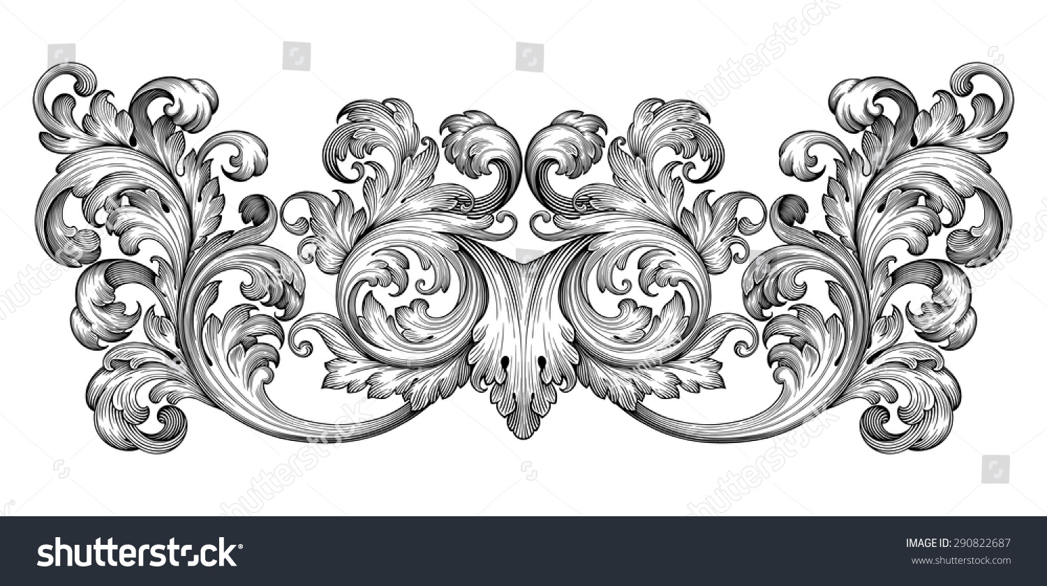 Vintage Baroque Frame Leaf Scroll Floral Stock-Vektorgrafik ...