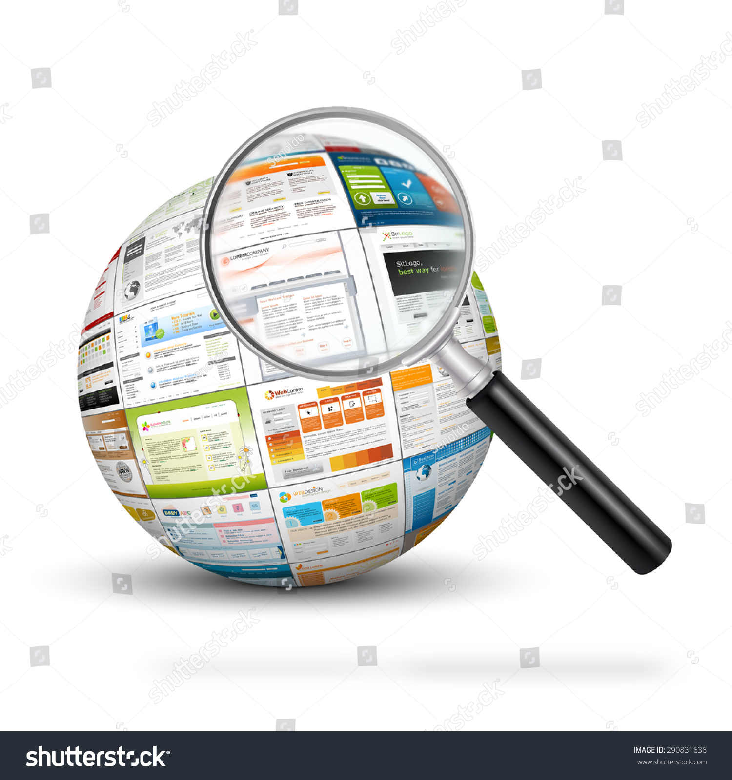 Sphere web design template imprints magnifying stock for Sphere net template