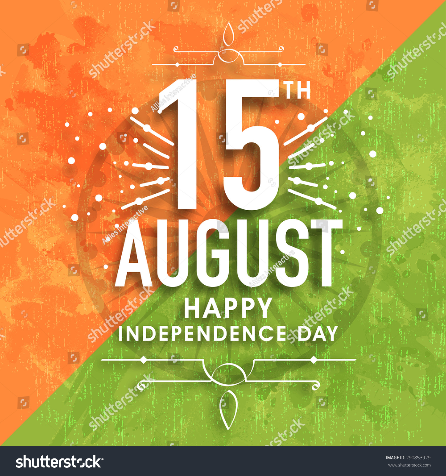 Colors website ashoka - Greeting Card Design With Stylish Text 15th August On Ashoka Wheel And Grungy National Flag Colors