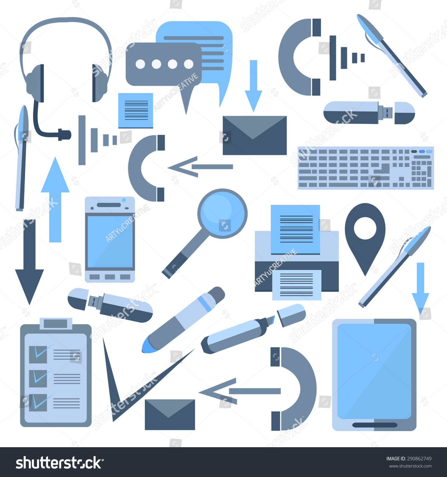Set Isolated Icons Flat Style Elements Stock Vector 290862749 Shutterstock