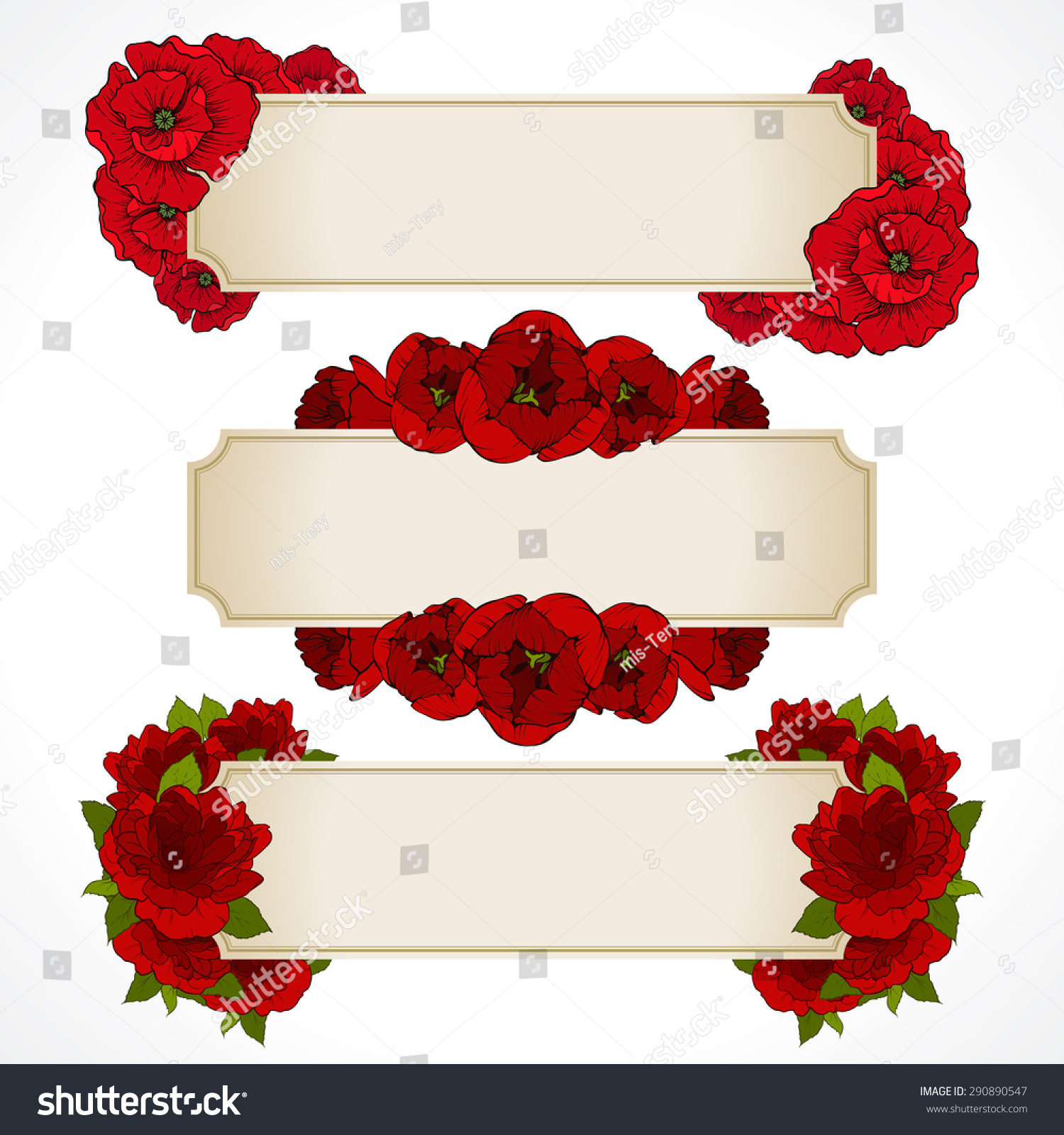 Vector Set Banners Red Flowers Greeting Stock Vector (Royalty Free ...