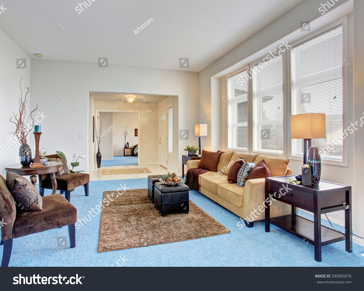 gorgeous living room bright blue carpet stock photo 290890676