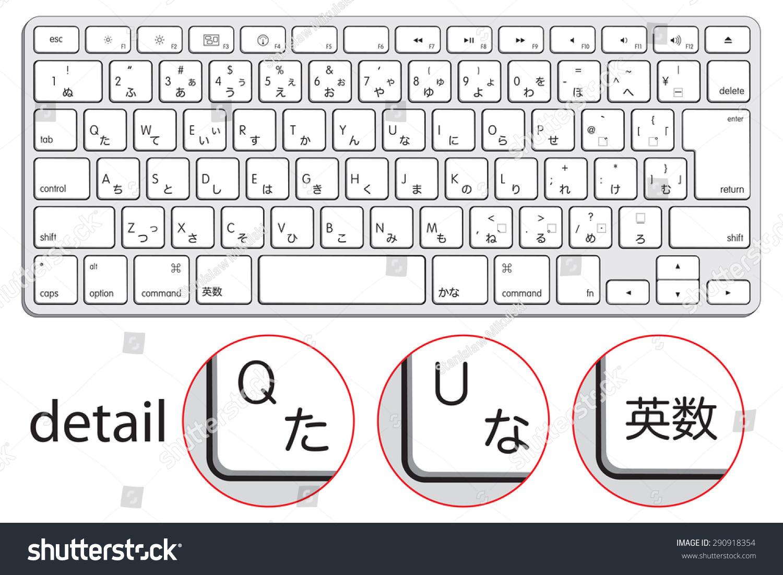 Computer Keyboard Japanese Symbols Hieroglyphs Hiragana Stock Vector