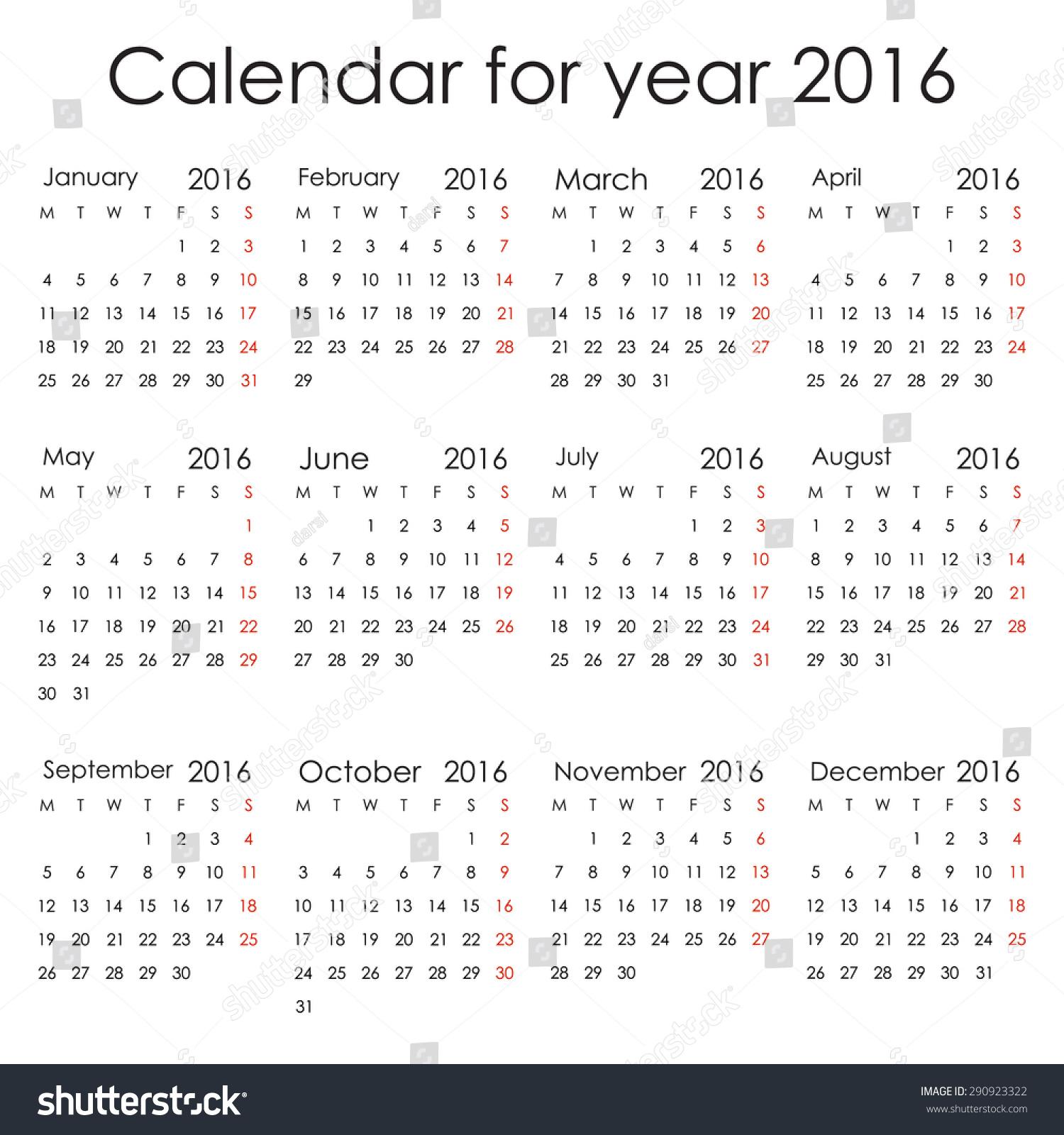 calendar starting on monday