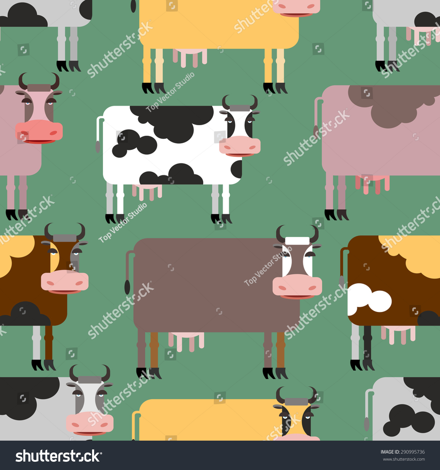 cow seamless pattern background animals herd stock vector