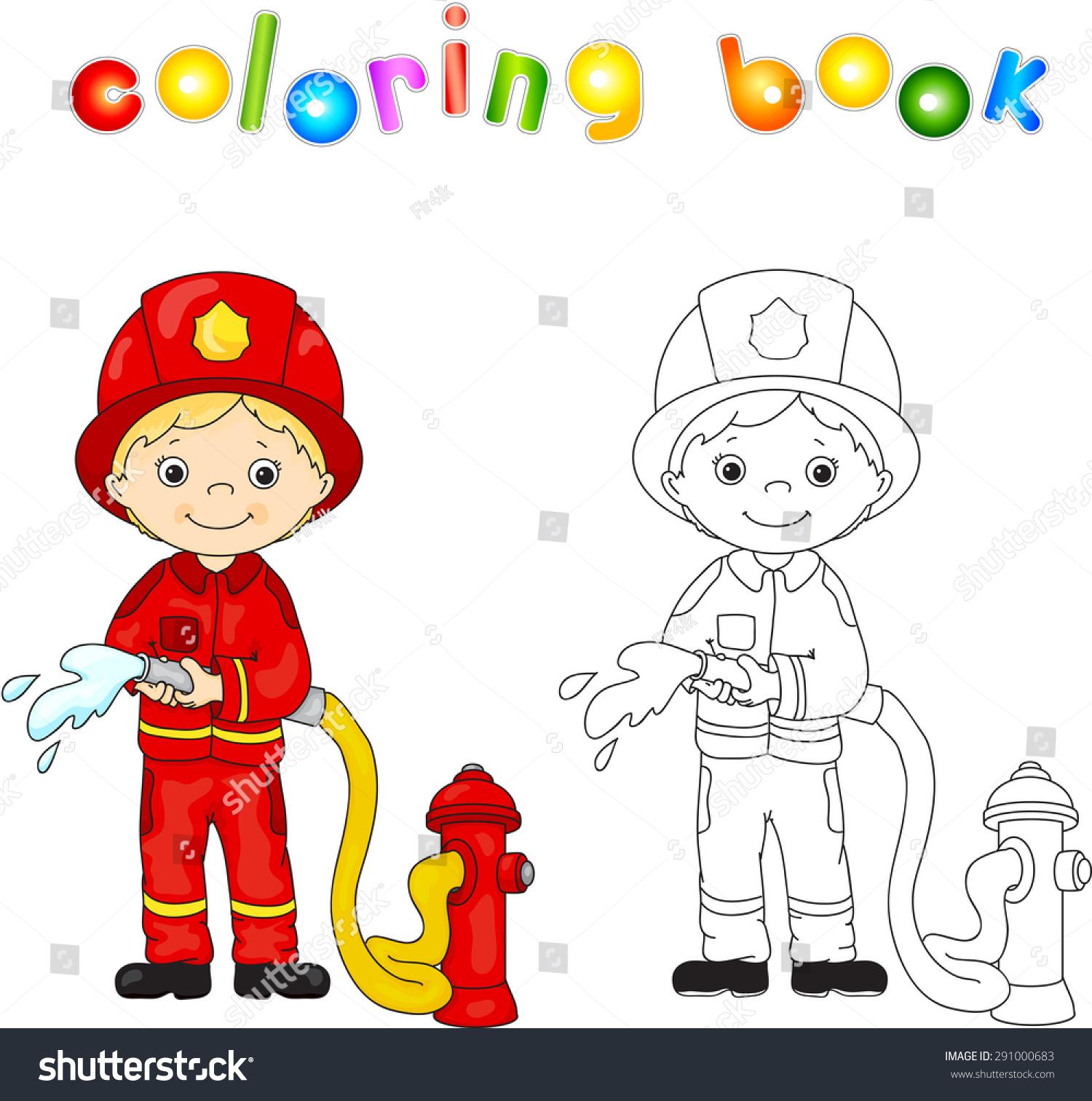 Fireman Red Uniform Helmet Hose His Stock Vector (Royalty ...