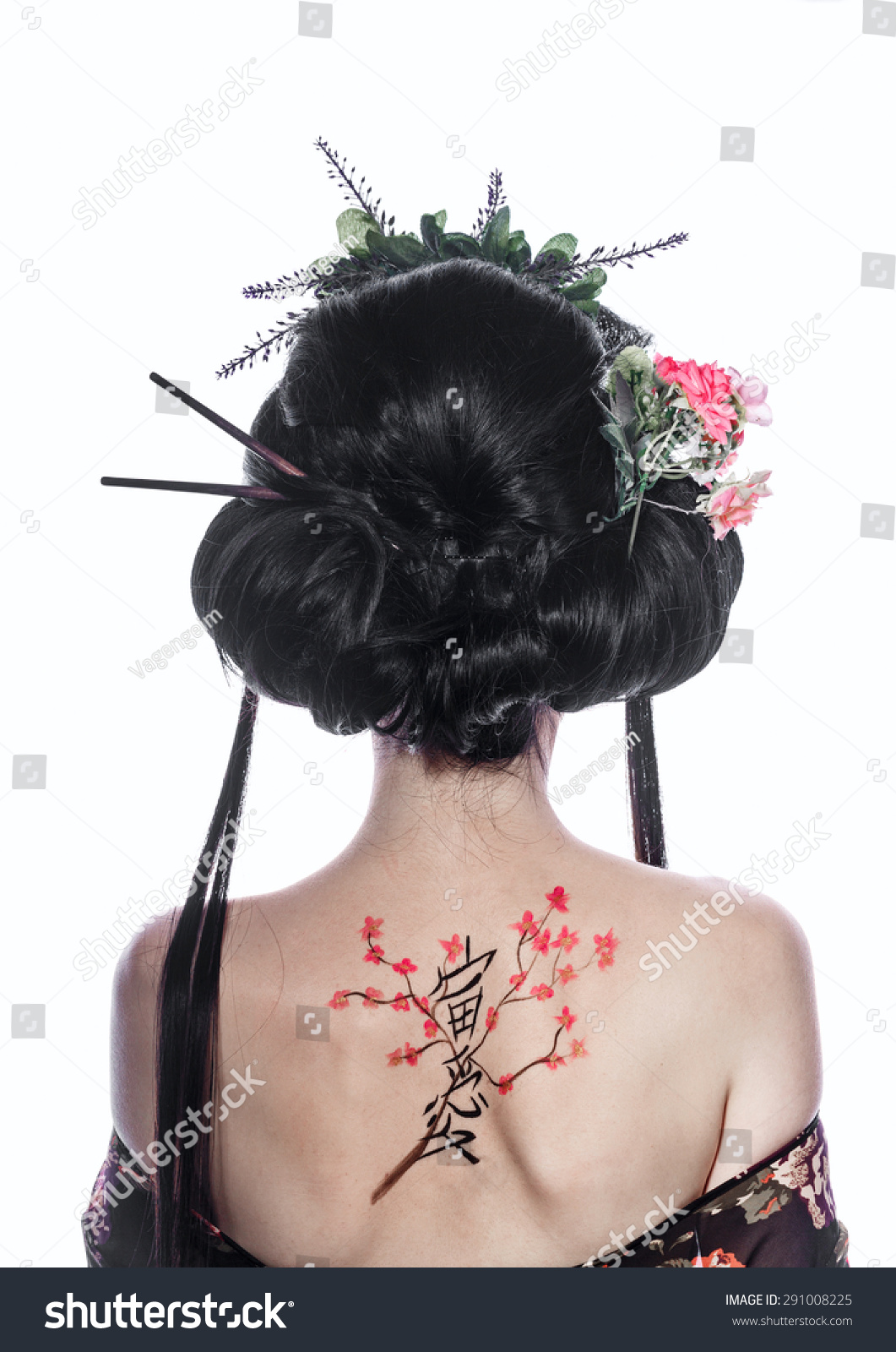 Portrait Young Geisha Girl Drawing Cherry Stock Photo