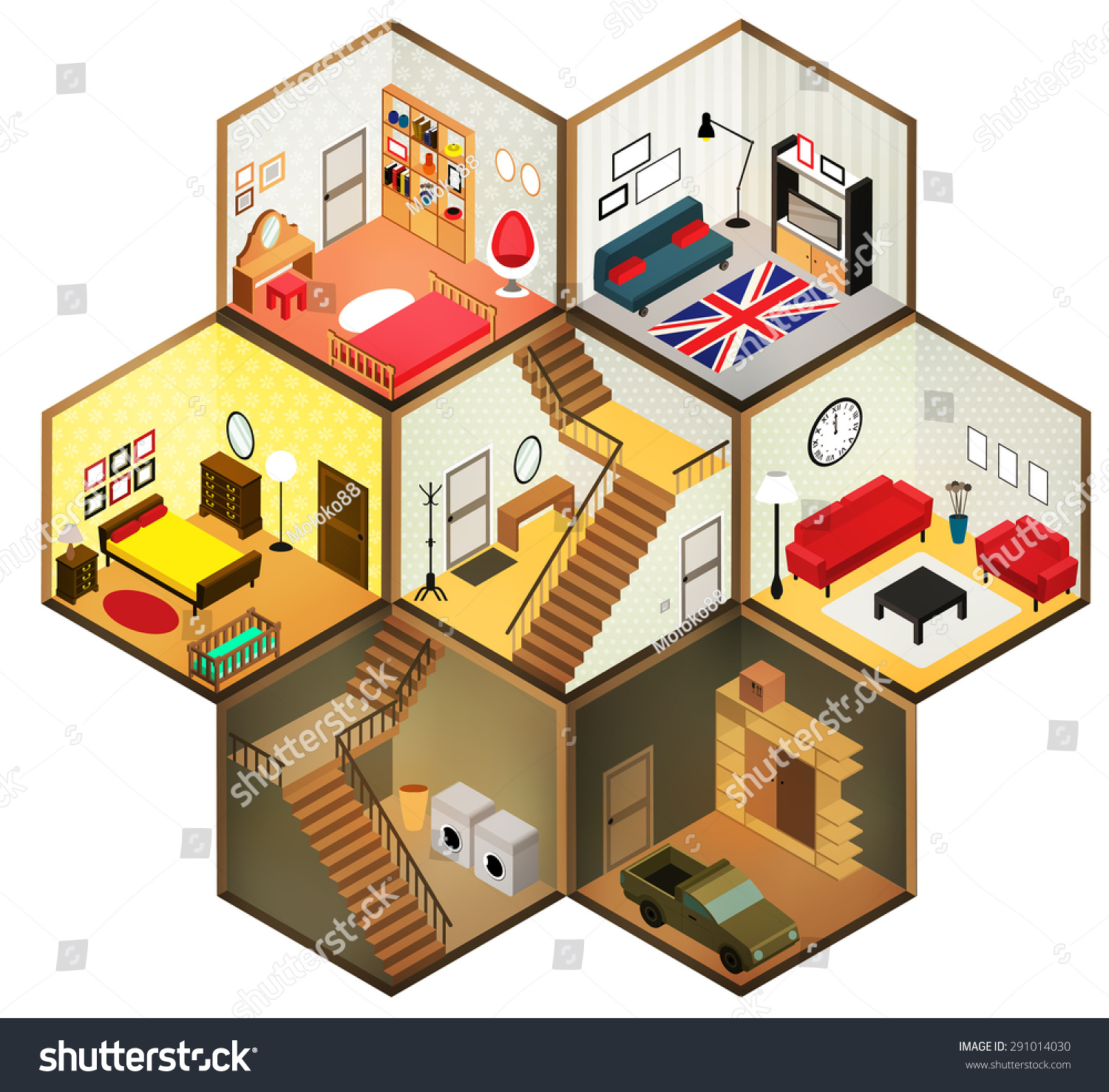 flat 3d isometric abstract interior living stock vector