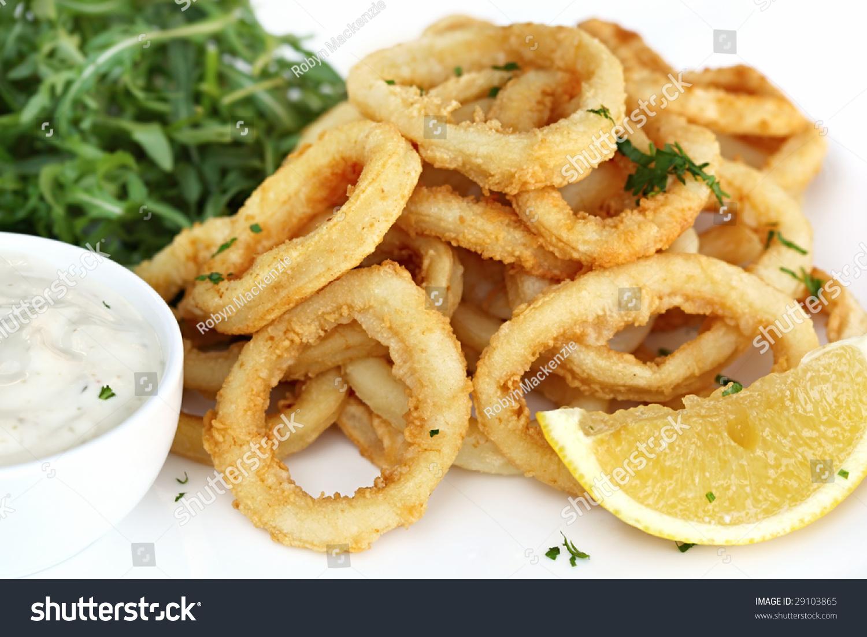 Fried Calamari With Arugula Salad Tartare Sauce And