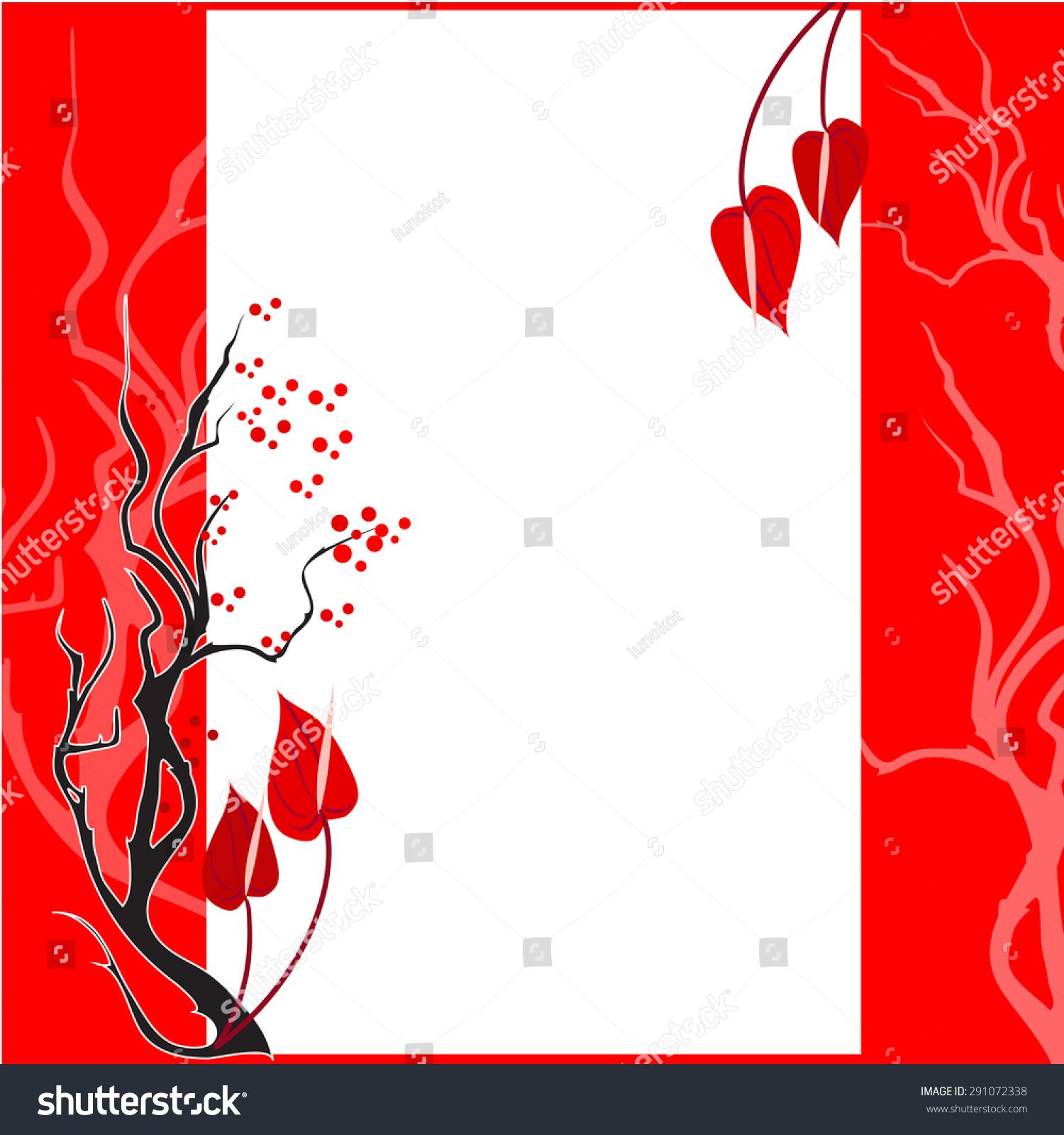 Ikebana Red Flower Background Wedding Invitation Stock Vector ...