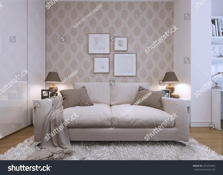 Modern Wallpaper For Living Room Beige Sofa Living Room Modern Style Stock Illustration 291074945