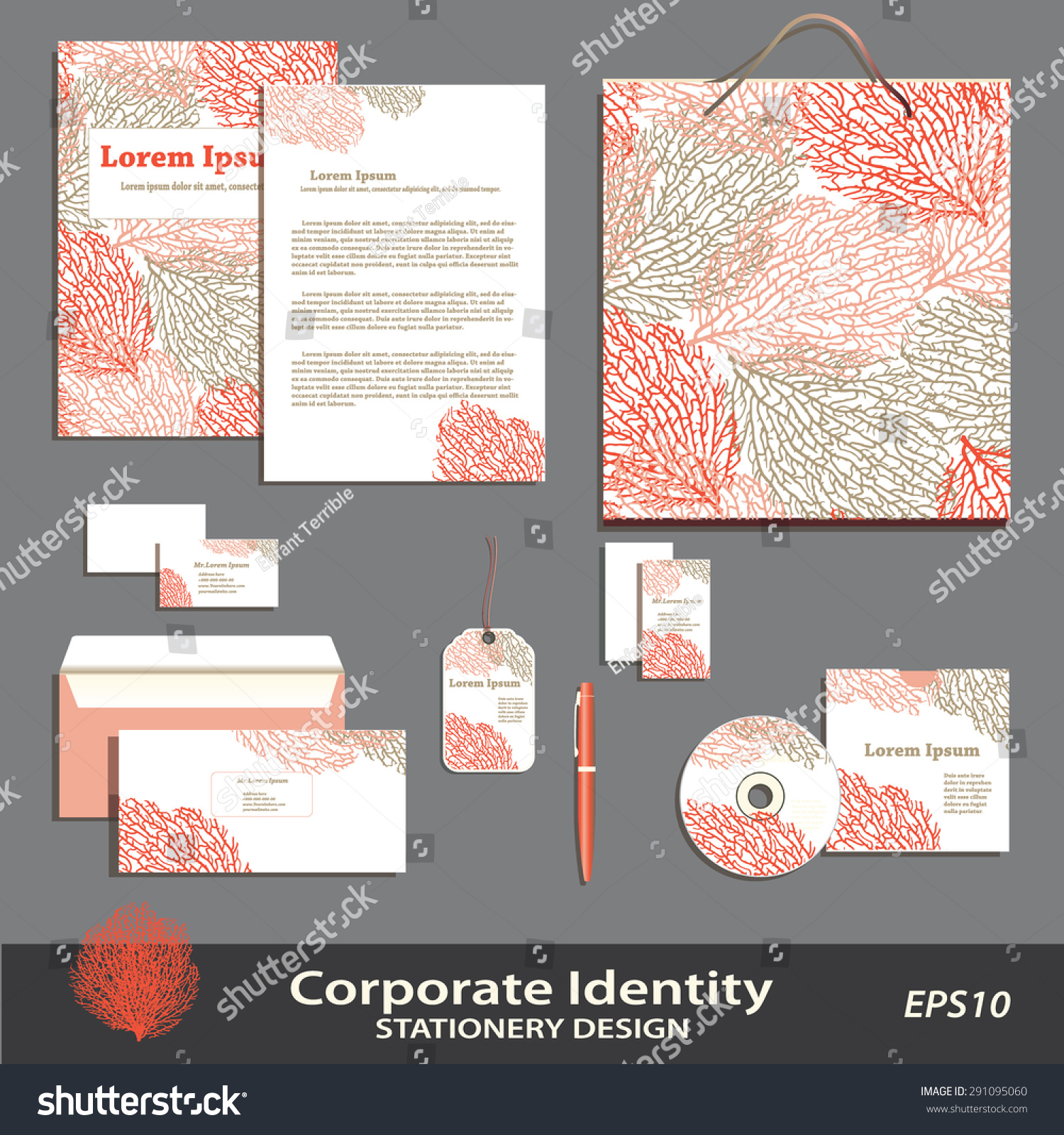 Vector coral pattern stationery design template stock vector vector coral pattern stationery design template brand corporate identity business set business accmission Images