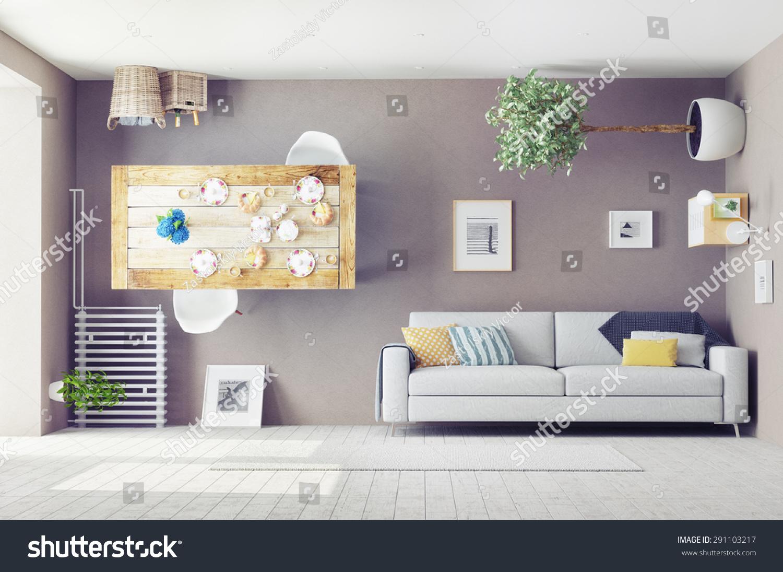 Strange living room interior 3d design stock illustration for Living room 3d design