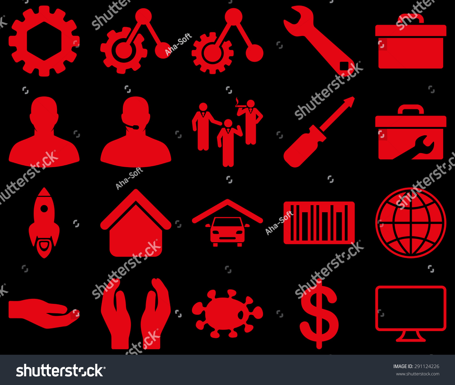 Settings Tools Icons Vector Set Style Stock Vector Royalty Free 291124226