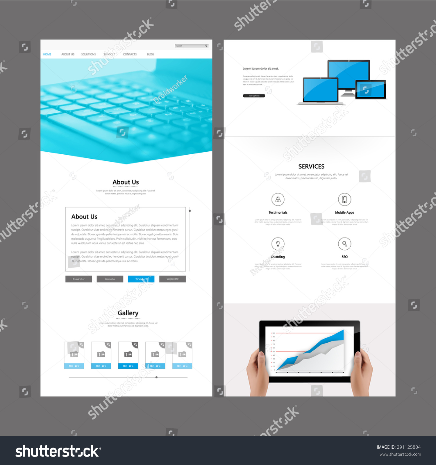 One Page Website Template Header Designs Stock-vektorgrafik ...