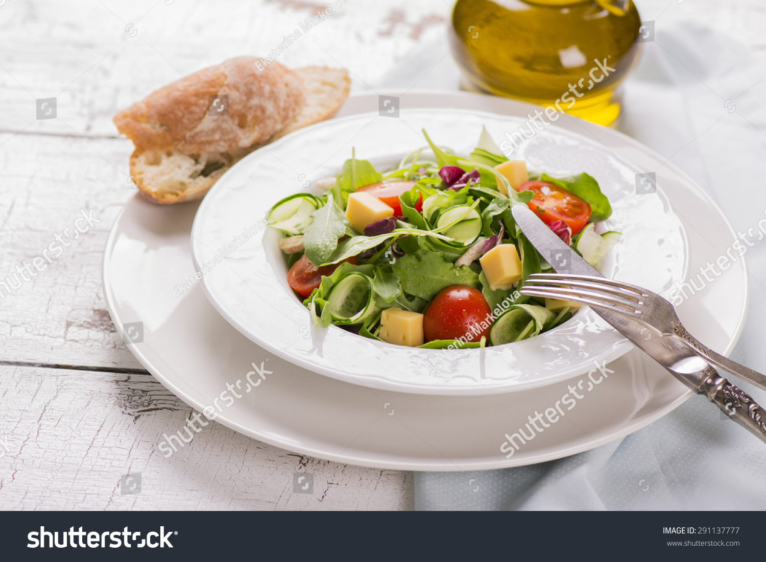 Fresh Salad With Cherry Tomatoes, Arugula, Cucumber And ...